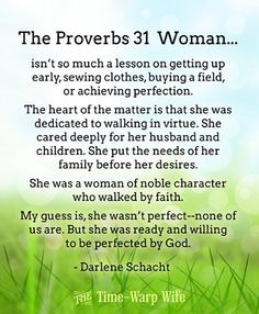 I LOVE this explanation of the Proverbs 31 woman! It is my mother, and it is who I desire to be! It just takes being ready AND being willing for God to perfect you! ~ NK