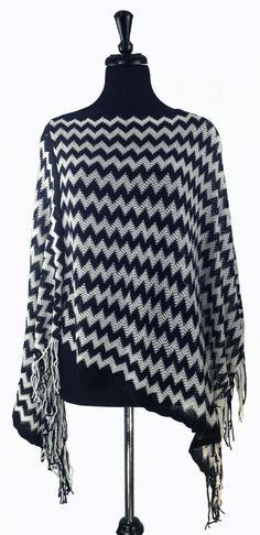 Black and White Chevron Crochet Poncho