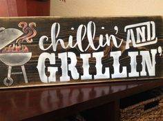 Chillin and Grillin BBQ sign wood primitive father's by djantle