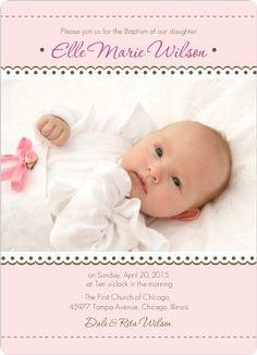Elegant Cross Chenille Baptism Christening Invitations in