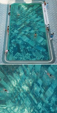 Global Warming Pool - as an ad for HSBC by Ogilvy & Mather Mumbai ad agency in India to raise awareness of the dangers of global warming, the clever ad guys glued an aerial photo of a city's skyscrapers to the base of a swimming pool.