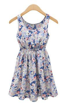 Blue U-Neck Sleeveless Print Pleated Dress