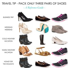 3 pairs of shoes for ANY trip >> http://www.hithaonthego.com/travel-tip-the-3-pairs-shoes-rule/ #travel #packing