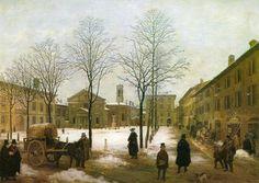 Piazza Borromeo, Milan (1846) - Angelo Warlock (1807-1880)