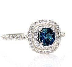 Double Halo Engagement Ring London Blue Topaz Ring 14K Diamond Halo Ring Conflict Free Custom Bridal Jewelry. $1,060.00, via Etsy.