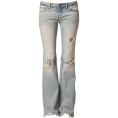 Free People Flare Destroyed Jeans (335 AUD) ❤ liked on Polyvore featuring jeans, pants, bottoms, calças, free people jeans, flare jeans, free people, destroyed jeans and button fly jeans