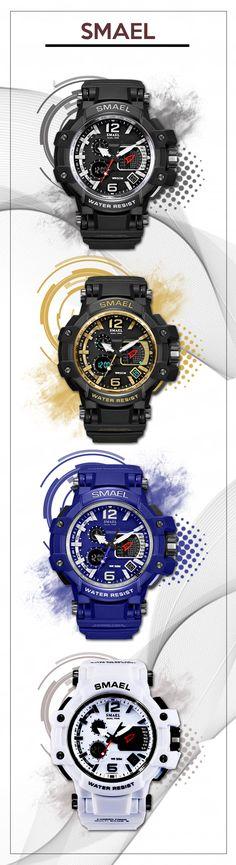 Men's LED watches - SMAEL sport waterproof digital watch - men's top brand fashion style affordable accessories #watches #menswatches #menswear #menstyle