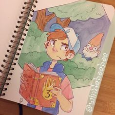June 19th #dailydrawing [Dipper]. I had to draw Dipper to go along with yesterday's Mabel! And it's a little something extra for everyone who comments that I never draw guys #art_daily #artstagram #illustrationdaily #sketchbookdaily #mosseryco #watercolors #koiwatercolors #dipperpines #gravityfalls #gnome #instaartist #igdraws #creative_instaarts #illustratenow #abeautifulmessapp