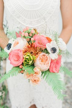 Modern and colorful pink, peach, white + green summer wedding bouquet {Stephanie Barnes Photography}