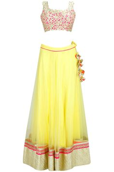 Yellow gota lace lehenga with gold cutwork blouse and pink embroidered dupatta available only at Pernia's Pop-Up Shop.