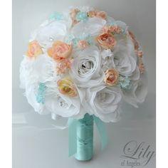 Artificial Silk Flower Wedding Bridal Bouquets Tiffany Blue/Tiffany/Blue/White/Peach