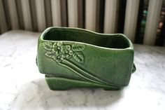 Green Glazed Art Pottery Planter by TheArtofSalvage on Etsy https://www.etsy.com/listing/199874559/green-glazed-art-pottery-planter