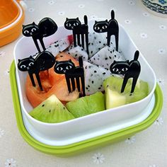 Black Cute Cat Fruit Fork for Baby Kid Japanese Style Snack Fork Lunch Decorative Sign Birthday Party -- Click on the image for additional details. (This is an affiliate link) #ToolGadgetSets