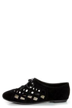 #black #lattic #cutouts #laces #flats #oxfords #shoes #vegan #lulus