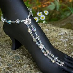 White Wedding Luxe Beaded Barefoot Sandal Foot Jewelry by ambertortoise, $149.00