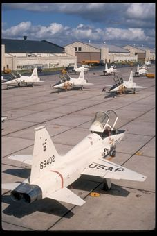 Air Education and Training Command uses the T-38C to prepare pilots for front-line fighter and bomber aircraft such as the F-15E Strike Eagle, F-15C Eagle, F-16 Fighting Falcon, B-1B Lancer, A-10 Thunderbolt II and the F-22 Raptor. The Talon first flew in 1959 and more than 1,100 were delivered to the Air Force between 1961 and 1972 when production ended. As the T-38 fleet has aged, specific airframe, engine and system components have been modified or replaced. (courtesy photo)