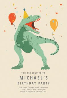 Elegant Dinosaur Get together - Birthday Invitation Template (Free Informations About Dinosaur fiesta - B. Free Birthday Invitation Templates, Dinosaur Birthday Invitations, Free Printable Birthday Invitations, Birthday Invitations Kids, Dinosaur Birthday Party, Diy Birthday, Diy Party Invitations, Dinosaur Party Favors, Ticket Invitation