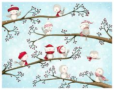 please remember that all images on this site are ©Stacey Yacula and may not be reproduced, copied or distributed under a. Owl Illustration, Winter Illustration, Christmas Illustration, Noel Christmas, Winter Christmas, Christmas Crafts, Xmas, Holiday, Cute Monsters