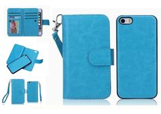 (Case for Apple iPhone 5/5s) Bon Venu Versatile Business Wallet Purse style Synthetic£¨Faux)leather material Crazy Horse series Pu Back Cover Magnetic detachable removable Case 2 Kickstands Wallet 9 Cards Slot and Wallet cards Slot with Dark cell Pouch Multi-function Wallet Phone Case for Iphone 5/5s+Screen Protector (Blue). Elegant Wallet Design for with Holders for credit card cash holder provide credit Card Slots Wallet sandwiched. Specifically design for Iphone 5 5S 4.0 inch ,with a…