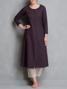 Buy Maroon Button Down Open Placket Chambrey Kurta Cotton Women Kurtas Woman… Order now just 2000 rsNew collection, To place order or know more, Dm or message on whatsapp - Cash on delivery avalaible.Little dim brown & nude Salwar Designs, Kurta Designs Women, Blouse Designs, Kurti Designs Pakistani, Pakistani Dresses, Indian Dresses, Indian Outfits, Kurta Patterns, Dress Patterns