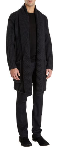John Varvatos Long Shawl Collar Cardigan at Barney's, New York.