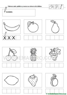 Separar sílabas | Contar sílabas - Web del maestro Language Activities, Grade 1, Speech Therapy, Art For Kids, Literacy, Kindergarten, Diagram, Classroom, School