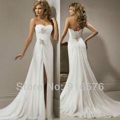 33037f6741fa Beaded Brooch Sweetheart Chapel Train A Line Front Slit Wedding Dress Abito  Da Sposa Economico