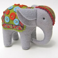 ear idea for felt quiet book felt elephant soft toy stuffed animal buttons on the blanket is cute