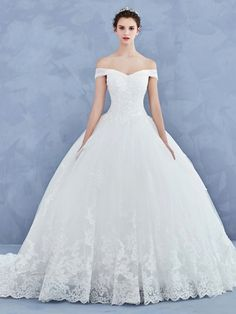 Ball Gown Off the Shoulder Appliques Lace-Up Wedding Dress