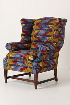 wingback in african wax fabric