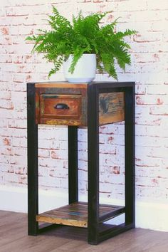 Unique Contemporary One Drawer Plant Stand Lamp Table The Exclusive Urban  Chic Range Is Made Using Reclaimed Wood Salvaged From Old Buildings In