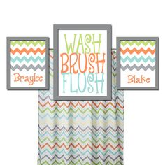Brother Sister Bathroom Wall Art Boy Girl Bathroom Wall Art Child Custom Bathroom Prints WASH Brush Flush Set of 3 CHEVRON Bathroom Rules