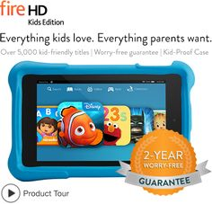 Kindle Fire HD tablet for kids comes with a 2 year - break it - we'll replace it warranty! Learn more!
