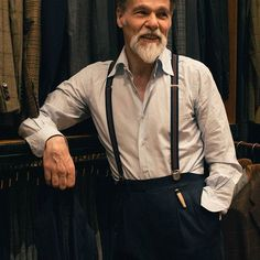 """""""Pleasure in the job put perfection in the work"""" - Aristotle Thick Beard, Awesome Beards, Silent Film, White Shirts, Suspenders, Well Dressed, Mens Fashion, Fashion Trends, Cool Outfits"""