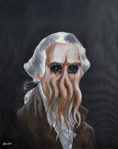 In His House at Mt V'rnon, Dead Washingthulhu Waits Dreaming, acrylic on canvas, 2014