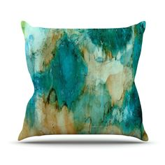"Rosie Brown ""Waterfall"" Teal Blue Metal Luxe Panel x - contemporary - Prints And Posters - KESS Global Inc. Brown Pillows, Blue Throw Pillows, Throw Cushions, Decorative Throw Pillows, Blue Pillow Cases, Pillow Shams, Teal And Gold, Teal Blue, Design Exterior"