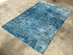Distressed rug, Vintage,Turkish kilim rug, 9'05x6'3inc Overdyed Oushak, Area Rug,276x192cm,Floor rugs,blue rug, BLUE by EclecticRug on Etsy