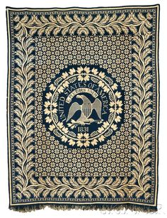 American Furniture U0026 Decorative Arts | Sale 2680B | Skinner Auctioneers  Woven Wool And Cotton Coverlet