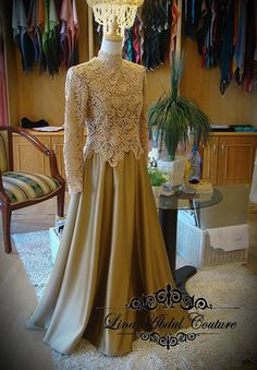 Prada lace Muslimah Wedding Dress, Muslim Wedding Dresses, Muslim Dress, Prom Dresses, Kebaya Muslim, Lace Top Dress, I Dress, Abaya Fashion, Muslim Fashion