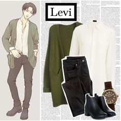 Casual cosplay of Levi (from Attack on Titan or Shingeki no Kyojin anime series)-- character inspired outfit