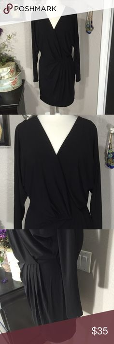 "Boston Proper Black Dress Size 8 💗 Excellent pre-loved condition. Has a wrap type front with a snap at the bust line. Shell: 67% rayon, 28% polyester, 5% spandex Lining: 90% polyester, 10% spandex Bust - 36"" Waist - 29"" Length - 35.5"" Boston Proper Dresses Midi"