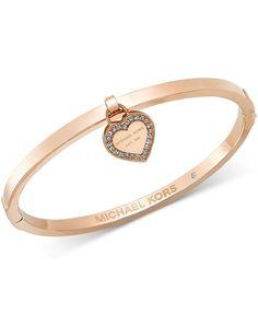 Michael Kors Gold-Tone Bangle with MK Charm - Michael Kors - Jewelry & Watches - Macy's