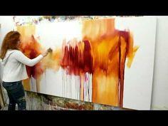 "Abstract acrylic painting Demo - Abstrakte Malerei ""Flüsterzeit"" by Zacher-Finet Looks simple - so dynamic"