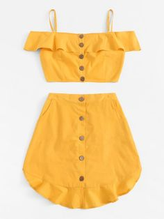 Dotfashion Yellow Ruffle Trim Button Front Cami Top With Skirt Women 2019 Casual Summer Sleeveless Beach Boho Two Piece Outfits Stylish Outfits, Cute Outfits, Fashion Outfits, Summer Skirts, Summer Outfits, Two Piece Outfit, Two Piece Skirt Set, Satin Cami Top, Skirts For Sale