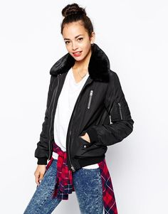 New Look | New Look Fur Collar Bomber Jacket at ASOS