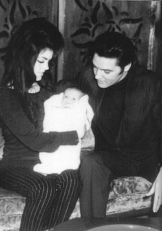 Elvis Presley, Priscilla Beaulieau Presley and Lisa Marie Presley