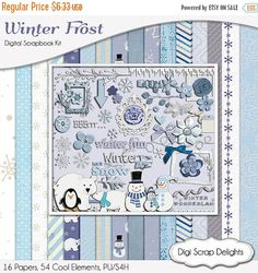 50% OFF TODAY Frozen Winter Frost DIgital Scrapbook Kit Blue Papers & Elements for Snow Scrapbooking Snowman, Snow Flakes, Cocoa, Instant   #scrapbooking #winter #christmas #digiscrapdelights #happyholidays #crafts