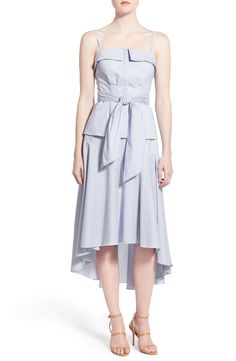 Olivia Palermo + Chelsea28 Stripe Bustier & Drape Poplin Midi Skirt
