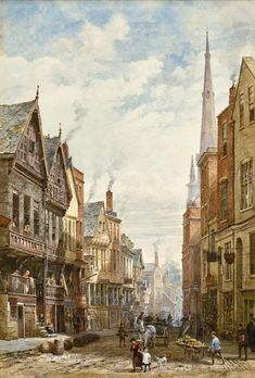 Louise Ingram Rayner (British painter) 1832 - 1924 A View of the High Cross, Chester, 1890s signed 'Louise Rayner' (lower left)
