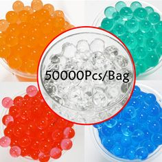 50000pcs/bag Water Bullet Balls Gun Pistol Toys Water Gun Crystal Soft Bullet paintball guns Toys Crystal Soil Bead Bio Gel Ball
